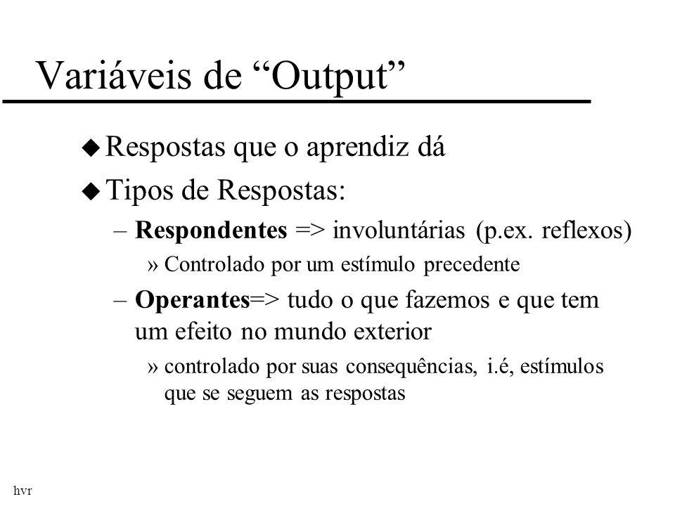 Variáveis de Output Respostas que o aprendiz dá Tipos de Respostas: