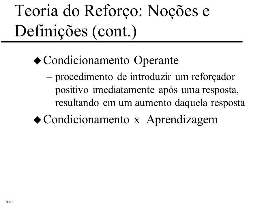 Teoria do Reforço: Noções e Definições (cont.)