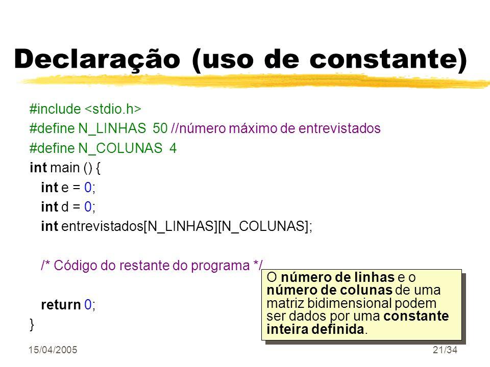 Declaração (uso de constante)
