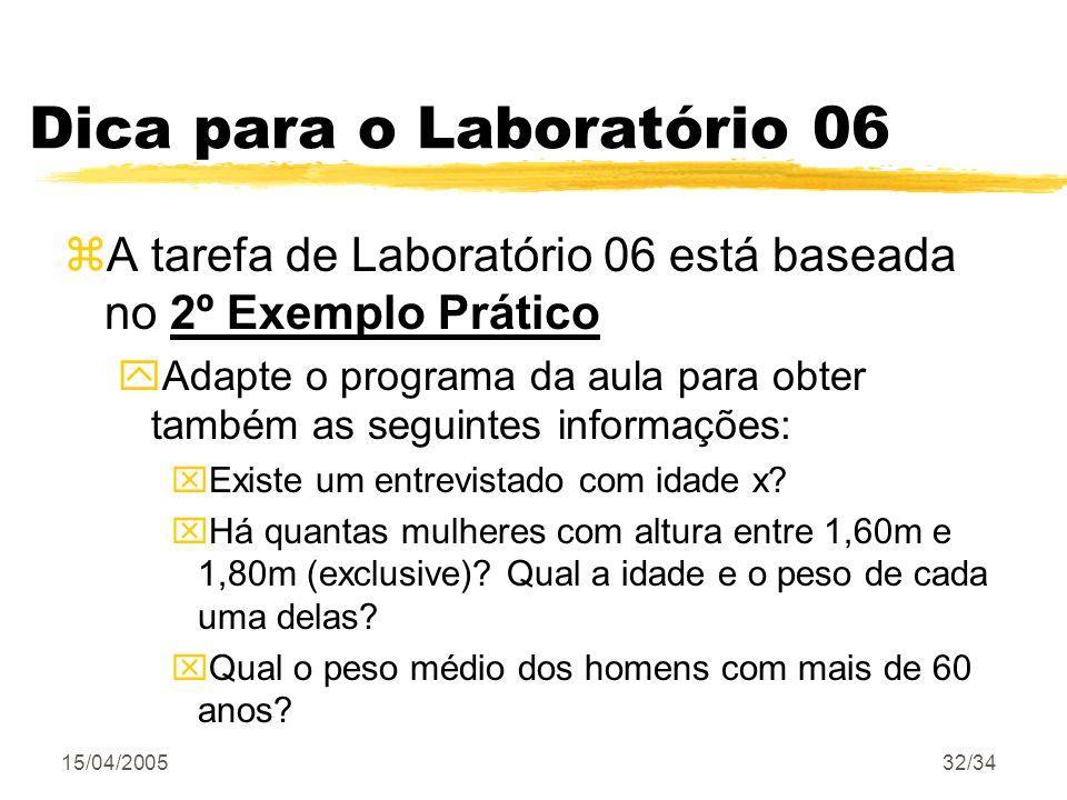 Dica para o Laboratório 06