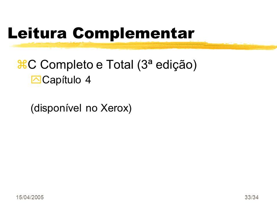 Leitura Complementar C Completo e Total (3ª edição) Capítulo 4
