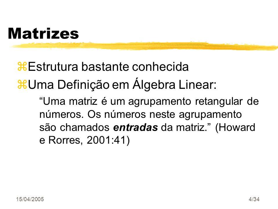 Matrizes Estrutura bastante conhecida Uma Definição em Álgebra Linear: