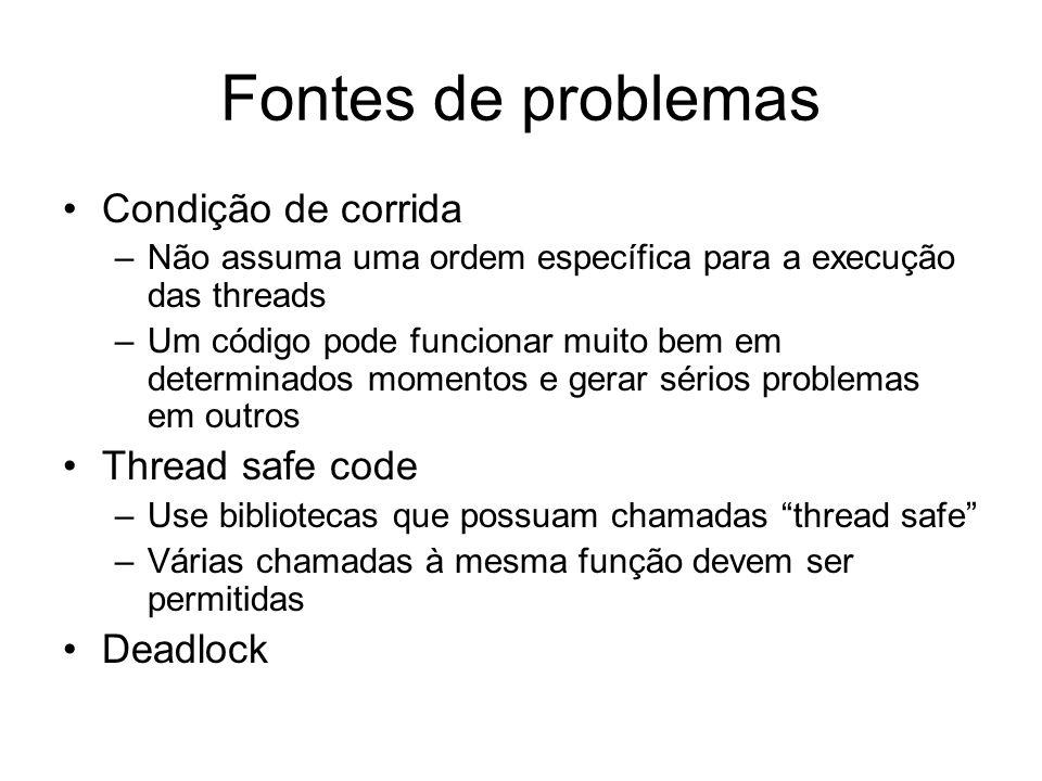 Fontes de problemas Condição de corrida Thread safe code Deadlock