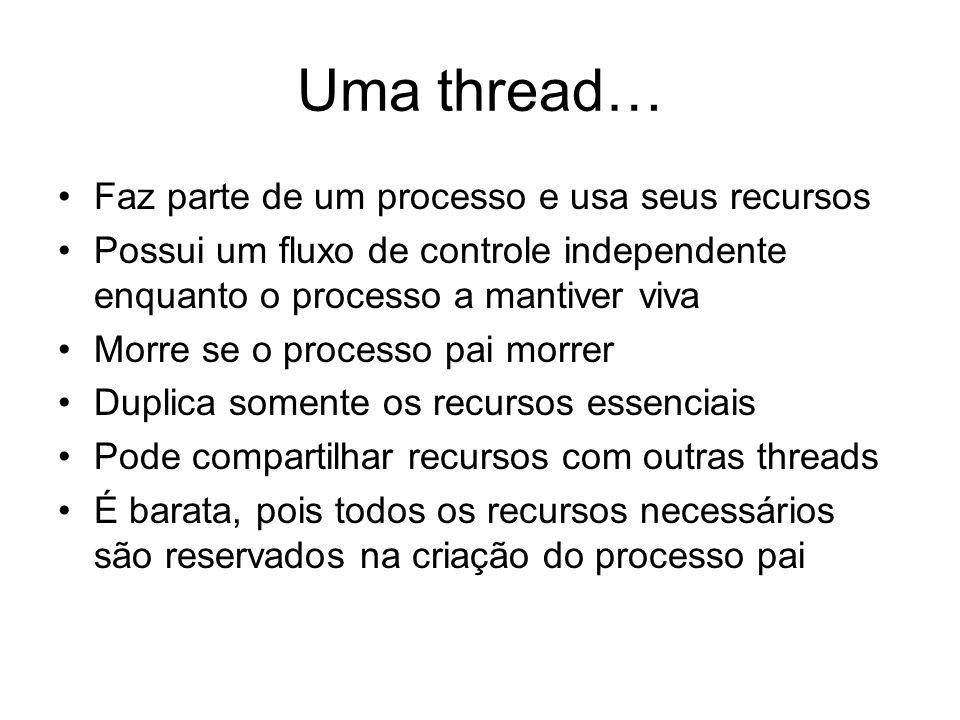 Uma thread… Faz parte de um processo e usa seus recursos