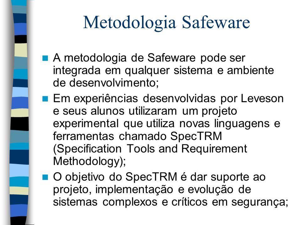 Metodologia Safeware A metodologia de Safeware pode ser integrada em qualquer sistema e ambiente de desenvolvimento;