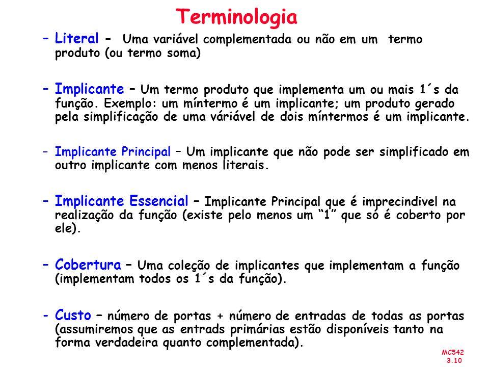 Terminologia Literal - Uma variável complementada ou não em um termo produto (ou termo soma)