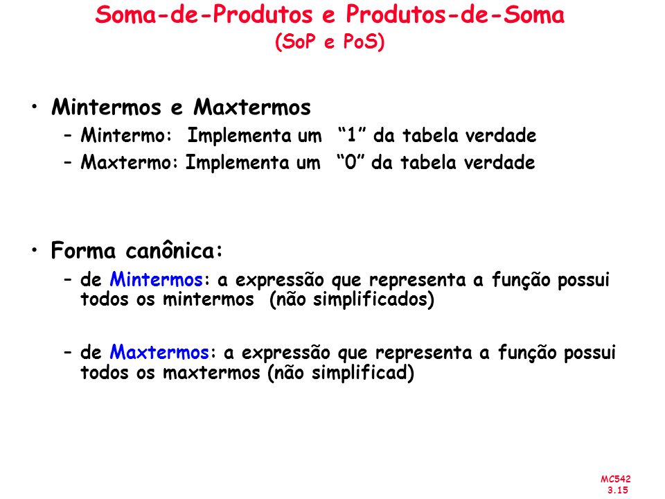 Soma-de-Produtos e Produtos-de-Soma (SoP e PoS)