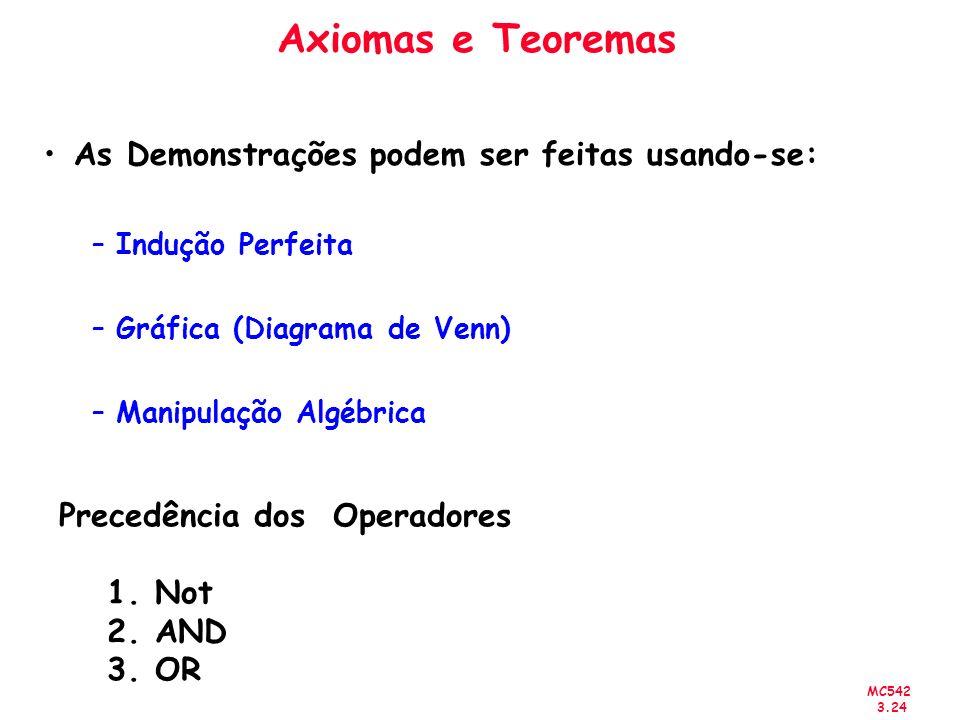 Axiomas e Teoremas As Demonstrações podem ser feitas usando-se: