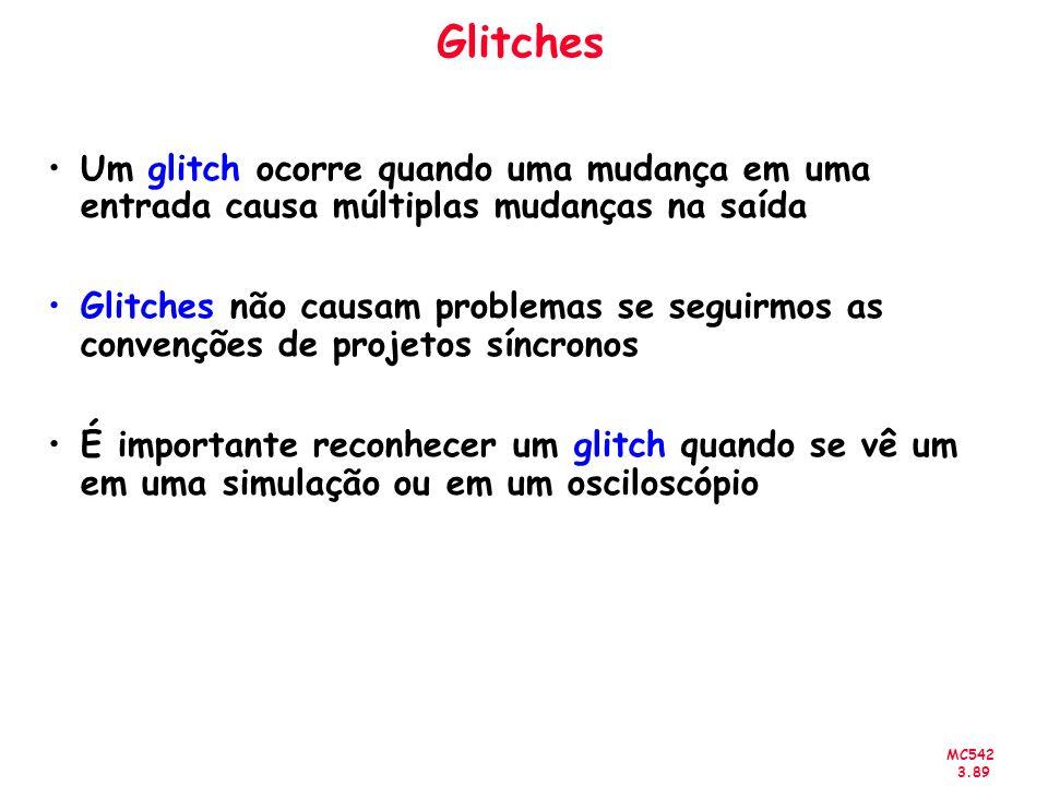 Glitches Um glitch ocorre quando uma mudança em uma entrada causa múltiplas mudanças na saída.