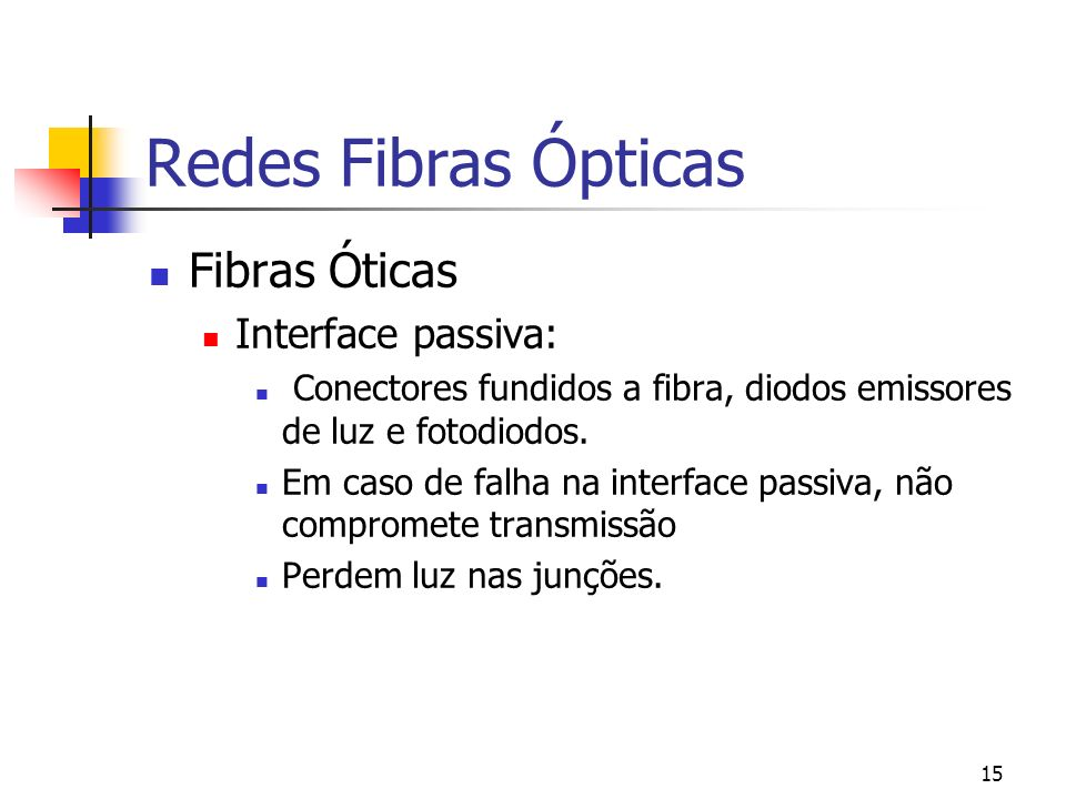 Redes Fibras Ópticas Fibras Óticas Interface passiva: