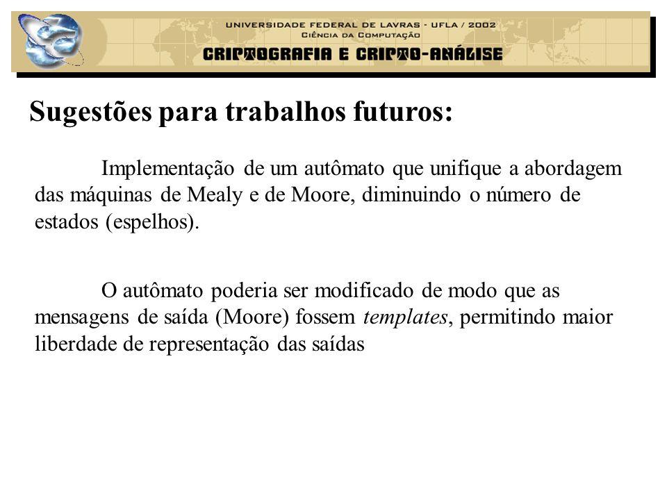 Sugestões para trabalhos futuros: