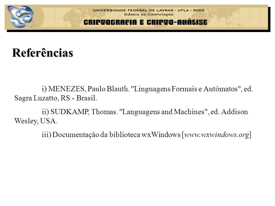 Referências i) MENEZES, Paulo Blauth. Linguagens Formais e Autômatos , ed. Sagra Luzatto, RS - Brasil.