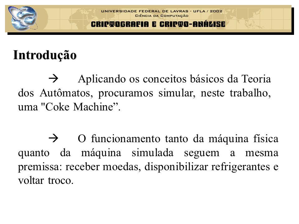 Introdução  Aplicando os conceitos básicos da Teoria dos Autômatos, procuramos simular, neste trabalho, uma Coke Machine .
