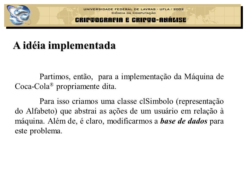 A idéia implementada Partimos, então, para a implementação da Máquina de Coca-Cola® propriamente dita.