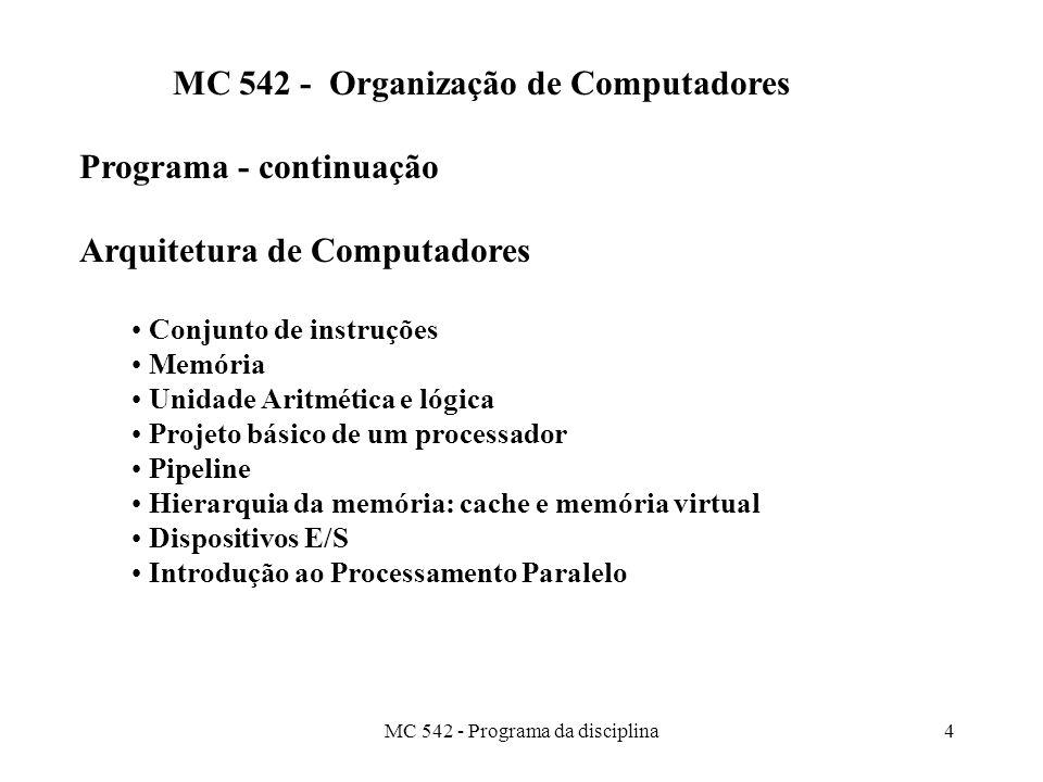 MC 542 - Organização de Computadores Programa - continuação