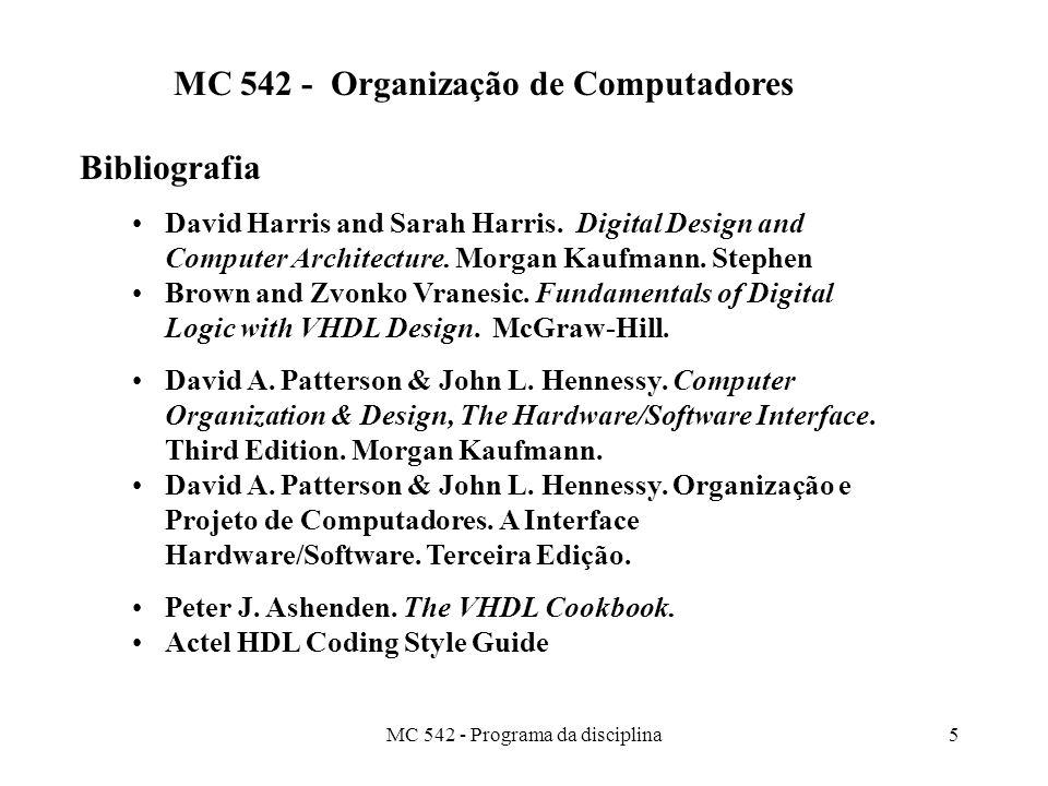 MC 542 - Organização de Computadores Bibliografia