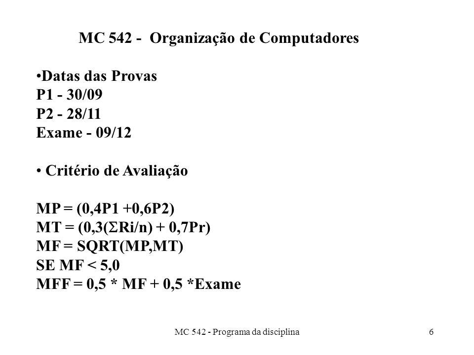 MC 542 - Organização de Computadores Datas das Provas