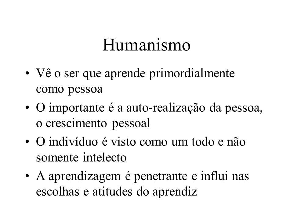Humanismo Vê o ser que aprende primordialmente como pessoa