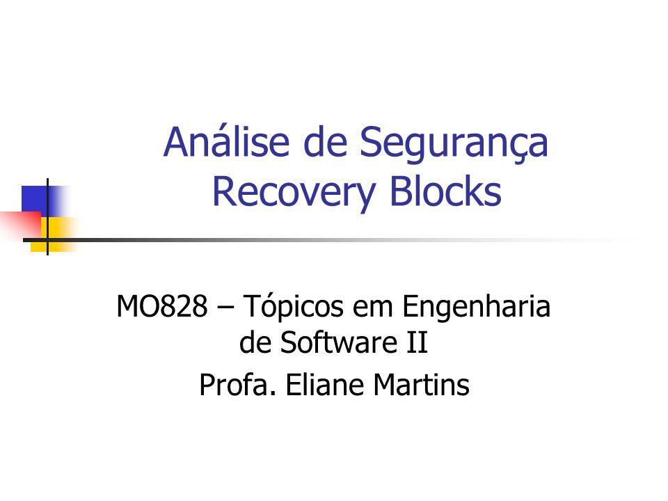 Análise de Segurança Recovery Blocks