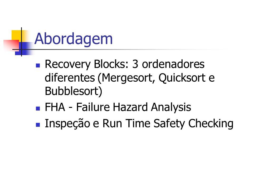 Abordagem Recovery Blocks: 3 ordenadores diferentes (Mergesort, Quicksort e Bubblesort) FHA - Failure Hazard Analysis.
