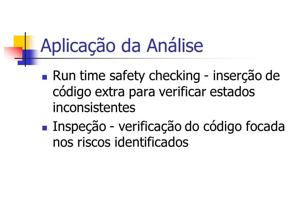 Aplicação da Análise Run time safety checking - inserção de código extra para verificar estados inconsistentes.