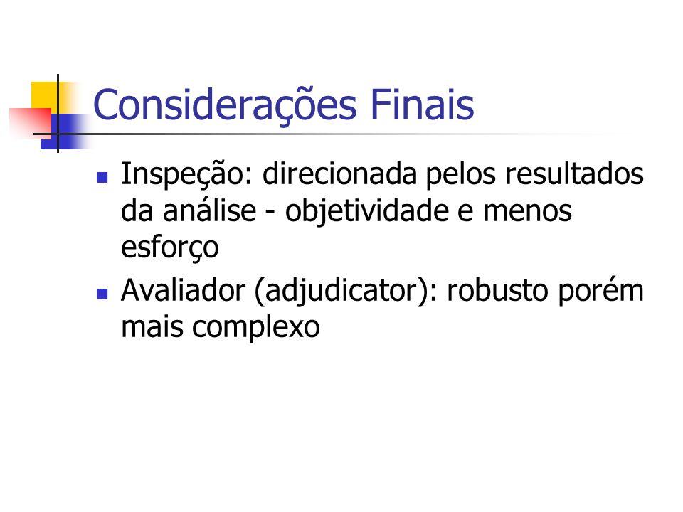 Considerações Finais Inspeção: direcionada pelos resultados da análise - objetividade e menos esforço.