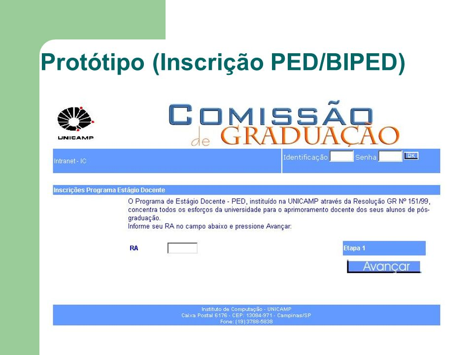 Protótipo (Inscrição PED/BIPED)