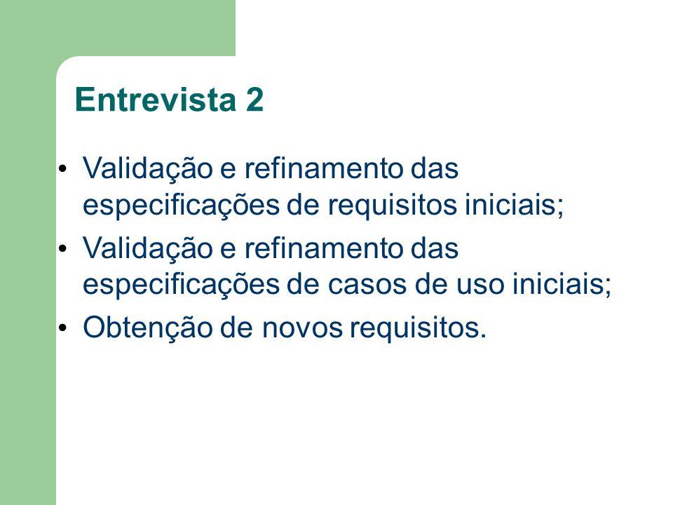 Entrevista 2 Validação e refinamento das especificações de requisitos iniciais;