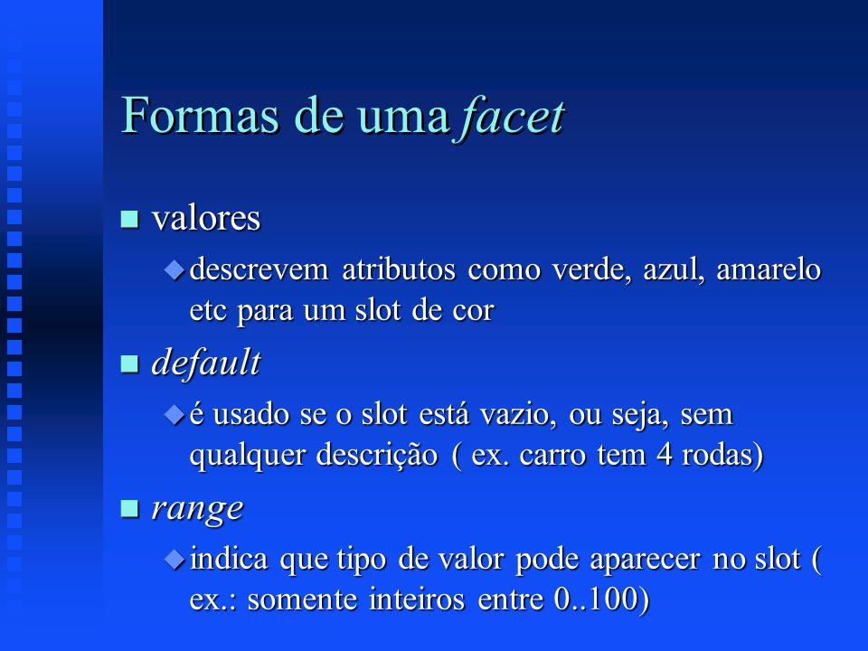 Formas de uma facet valores default range