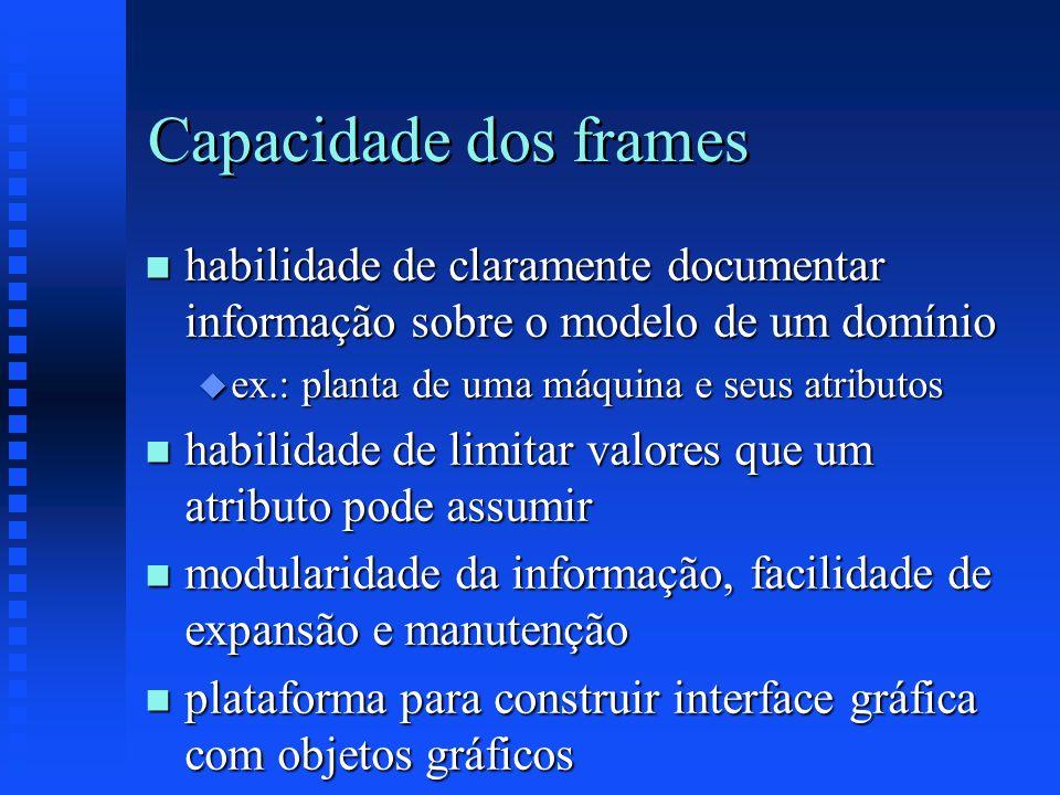 Capacidade dos frames habilidade de claramente documentar informação sobre o modelo de um domínio. ex.: planta de uma máquina e seus atributos.