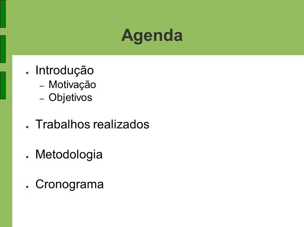 Agenda Introdução Trabalhos realizados Metodologia Cronograma