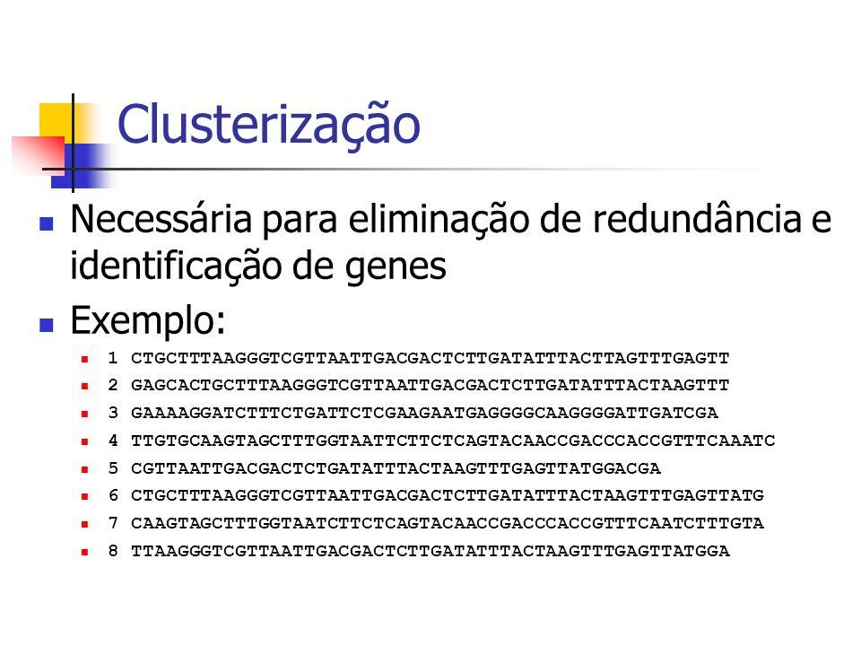 ClusterizaçãoNecessária para eliminação de redundância e identificação de genes. Exemplo: 1 CTGCTTTAAGGGTCGTTAATTGACGACTCTTGATATTTACTTAGTTTGAGTT.