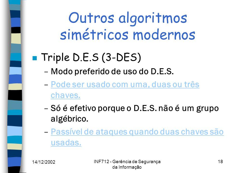Outros algoritmos simétricos modernos