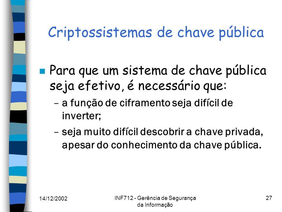 Criptossistemas de chave pública