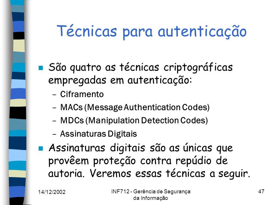 Técnicas para autenticação