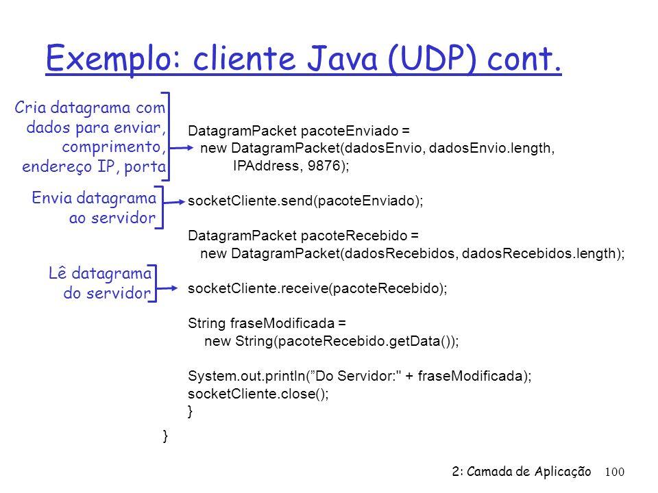 Exemplo: cliente Java (UDP) cont.