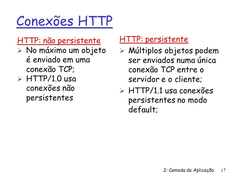 Conexões HTTP HTTP: persistente HTTP: não persistente