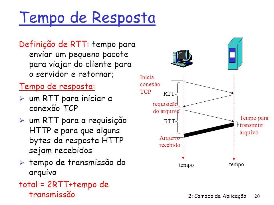 Tempo de Resposta Definição de RTT: tempo para enviar um pequeno pacote para viajar do cliente para o servidor e retornar;