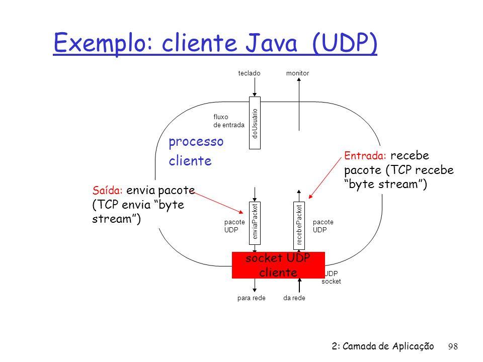 Exemplo: cliente Java (UDP)