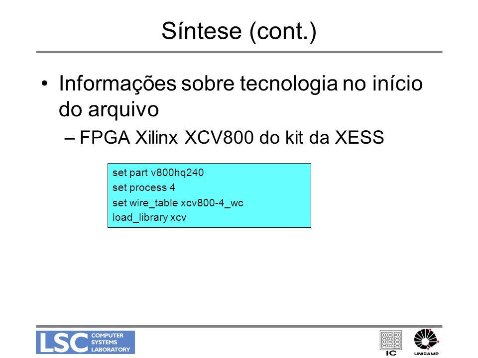 Síntese (cont.) Informações sobre tecnologia no início do arquivo