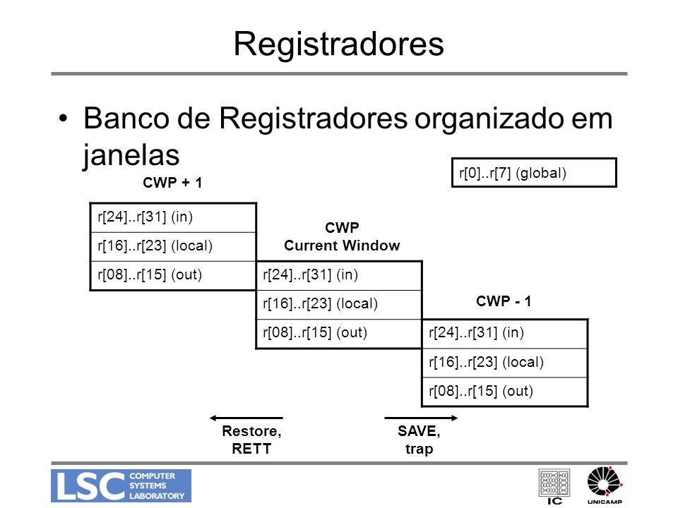 Registradores Banco de Registradores organizado em janelas