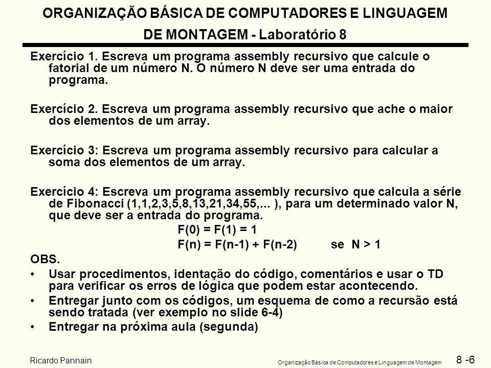 ORGANIZAÇÃO BÁSICA DE COMPUTADORES E LINGUAGEM DE MONTAGEM - Laboratório 8