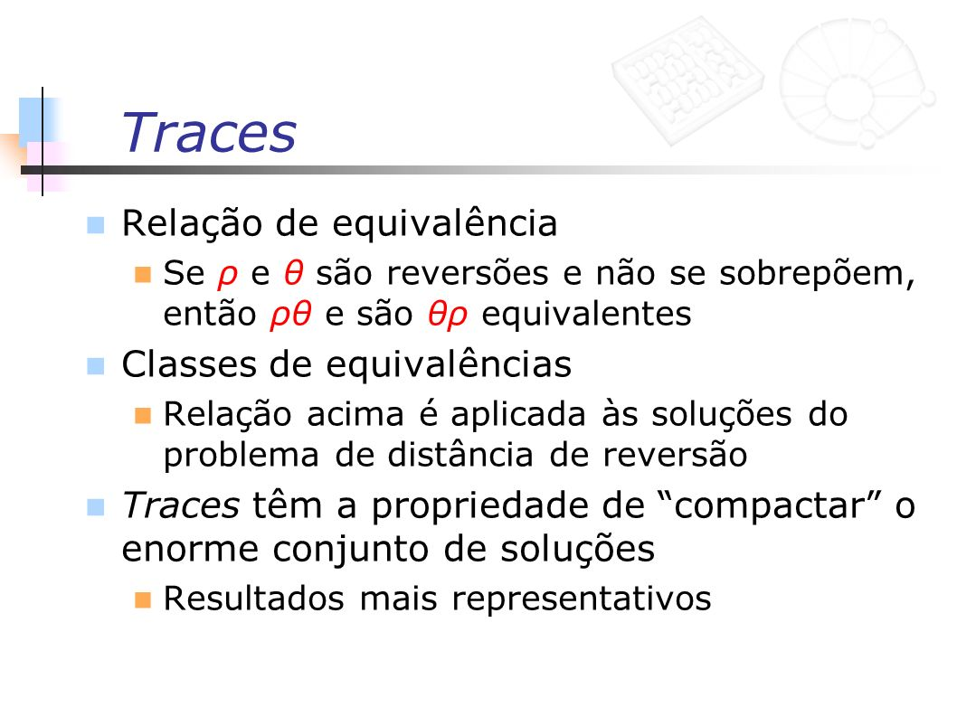 Traces Relação de equivalência Classes de equivalências