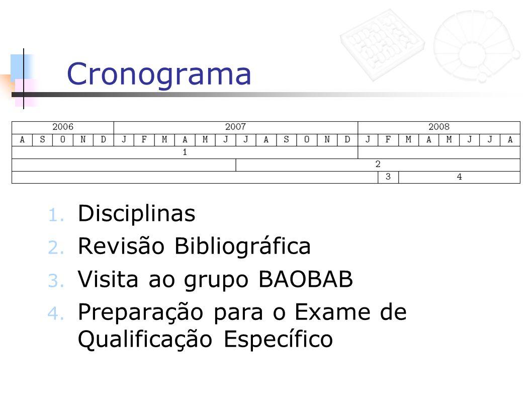 Cronograma Disciplinas Revisão Bibliográfica Visita ao grupo BAOBAB