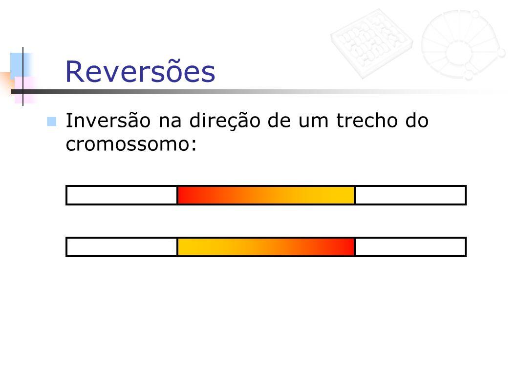 Reversões Inversão na direção de um trecho do cromossomo: