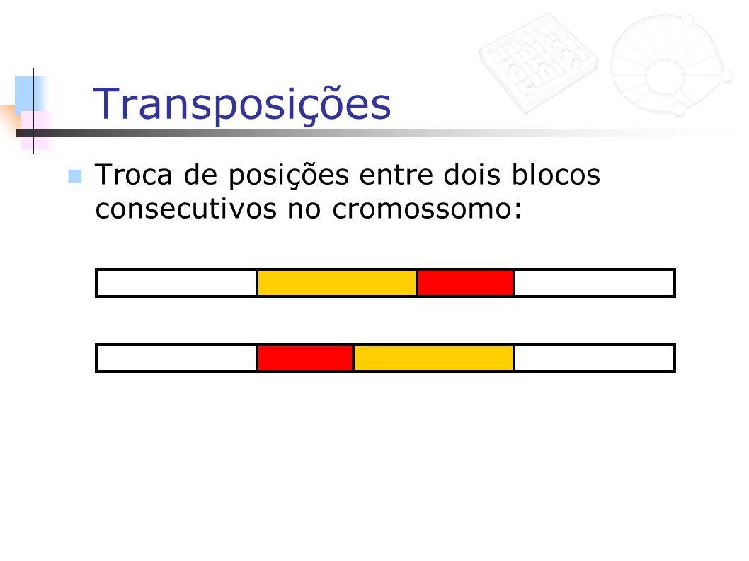 Transposições Troca de posições entre dois blocos consecutivos no cromossomo: