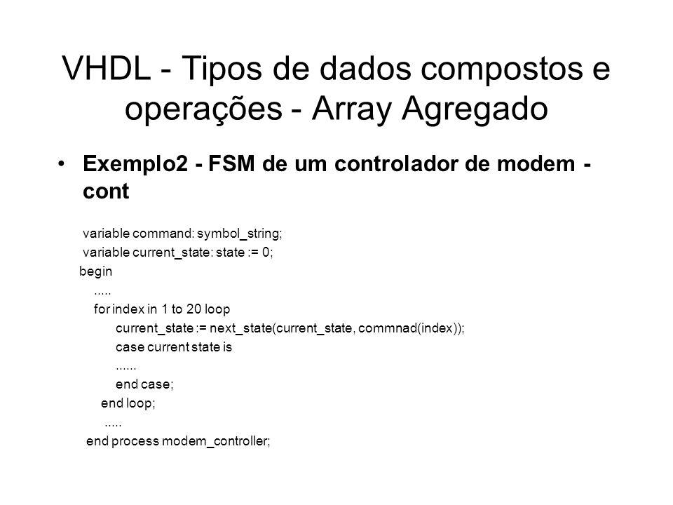 VHDL - Tipos de dados compostos e operações - Array Agregado