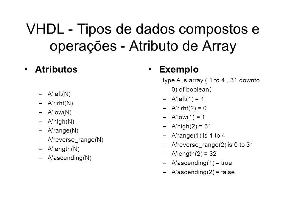 VHDL - Tipos de dados compostos e operações - Atributo de Array
