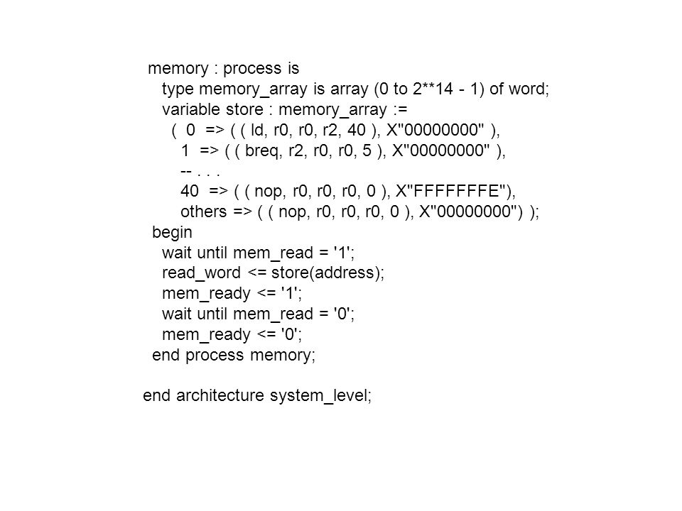 memory : process is type memory_array is array (0 to 2**14 - 1) of word; variable store : memory_array :=