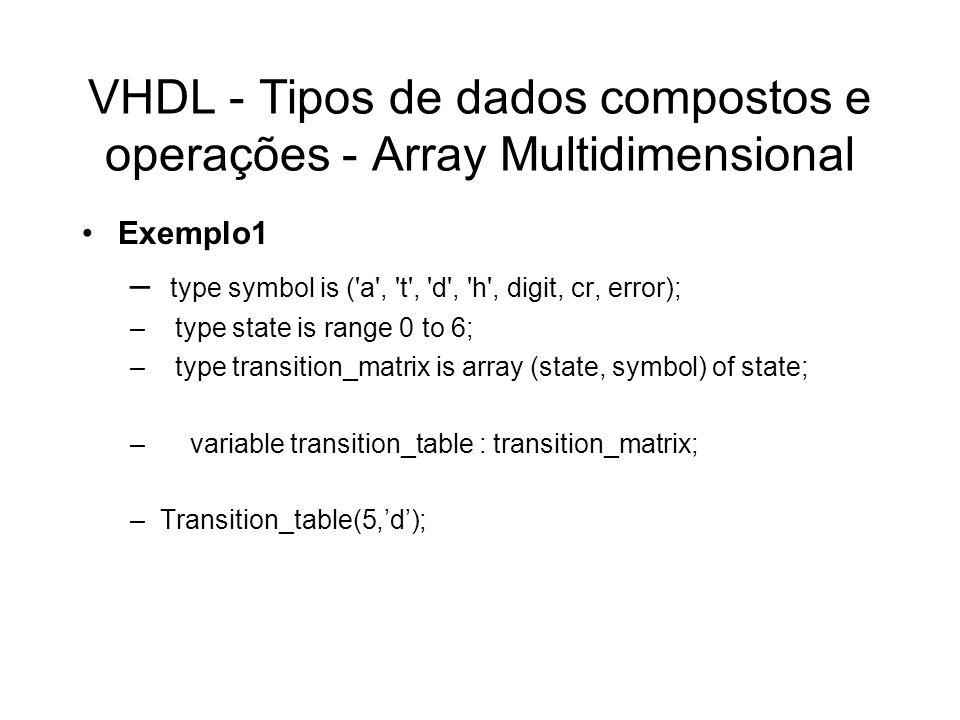 VHDL - Tipos de dados compostos e operações - Array Multidimensional